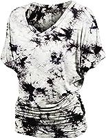 LL Womens Short Sleeve Heart Shape Tie-Dye Ombre Dolman Top - Made in USA