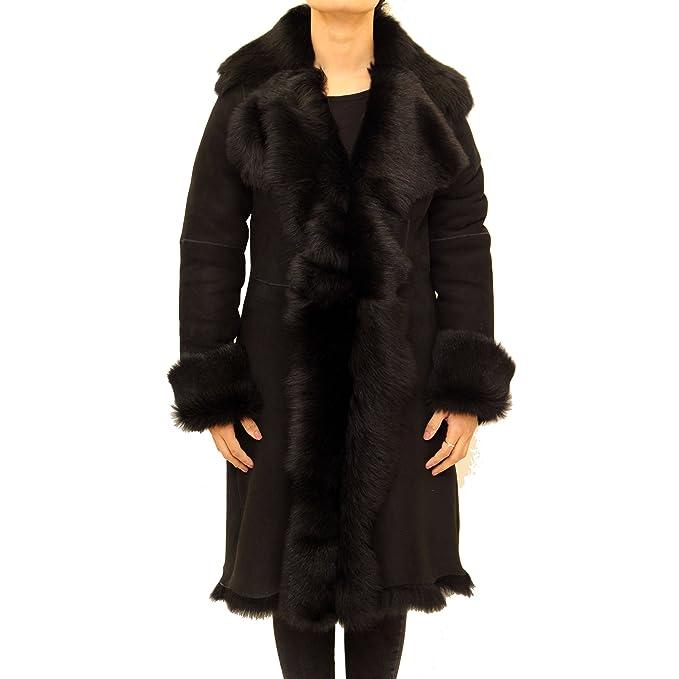 A to Z Leather Gamuza Negro Negro de Las Mujeres con Piel de Oveja Real. Abrigo de Piel de 3/4 a Largo Cascada del Invierno: Amazon.es: Ropa y accesorios