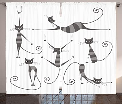 ambesonne cat curtains decor furry skinny striped cats in several funny body postures whiskers feline - Cat Curtains