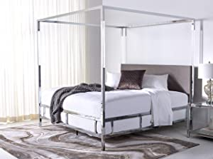 Safavieh Couture Collection Dorothy Chrome Velvet Acrylic King Bed Canopy, Silver/Grey