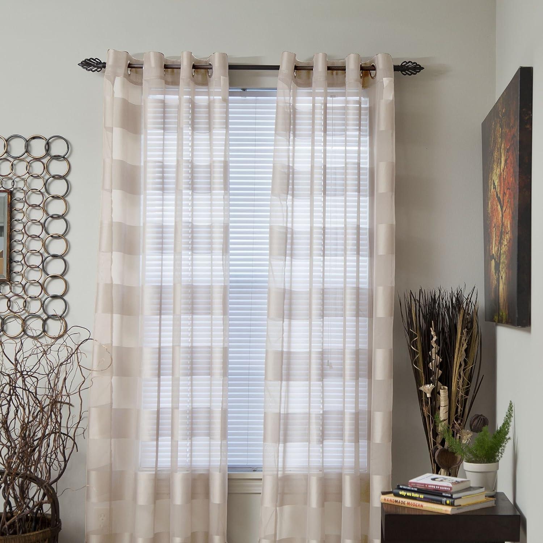 Lavish Home Sofia Grommet Single Curtain Panel, 84-Inch, Cream