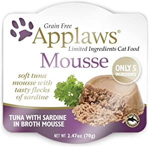 Applaws Mousse Wet Cat Food, Grain Free, Only 5 Ingredients, 2.5oz. (12 Pack) (Tuna with Sardine)