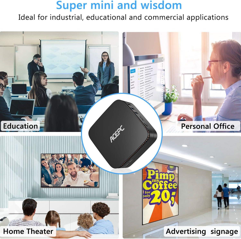 AK1 Mini PC Windows 10 Pro, ACEPC 4K Mini Computer Intel Celeron J3455 Processor(up to 2.3GHz) Micro Desktop PC, 4GB DDR3/64GB eMMC, 2.4G+5G Dual WiFi, Gigabit Ethernet, BT 4.2