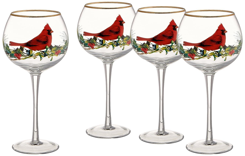 Lenox Winter Greetings Cardinal Stemware Set of 4 - ChristmasTablescapeDecor.com