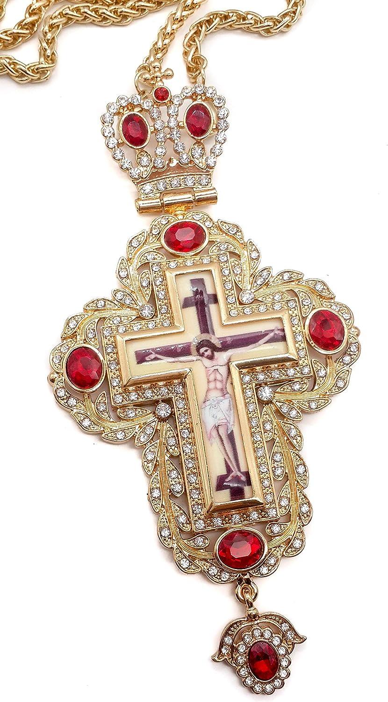 Nazareth Store Cruz Pectoral Crucifijo Colgante Circonitas Rojas Piedras cristalizadas Elementos Sacerdote Cristiano Obispo Collar 20
