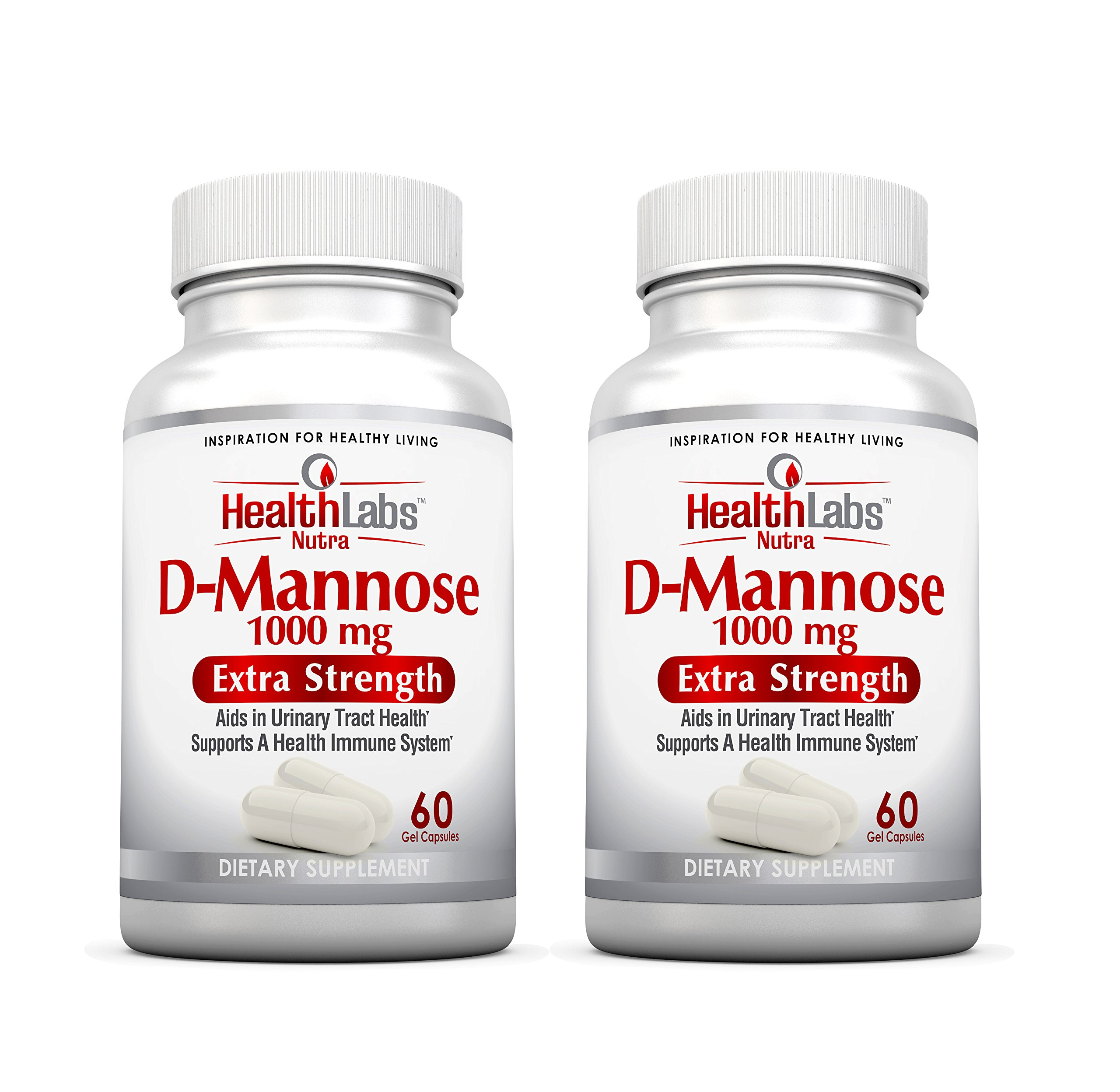 Health Labs Nutra D-Mannose 60-Day Supply 1,000mg - Fight Urinary Tract Infections & Promote a Healthy Bladder (Pack of 2) by Health Labs Nutra