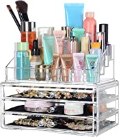 SortWise ® [DIY Buildable - L] Detachable 3 Drawers Acrylic Cosmetic Makeup Cosmetics Organizer Clear Storage Container...