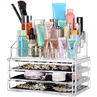 "SortWise ® [DIY Buildable - L] Detachable 3 Drawers Acrylic Cosmetic Makeup Cosmetics Organizer Clear Storage Container Box Case Multipurpose / 9.4"" X 7.5"", 2 Pieces Set"