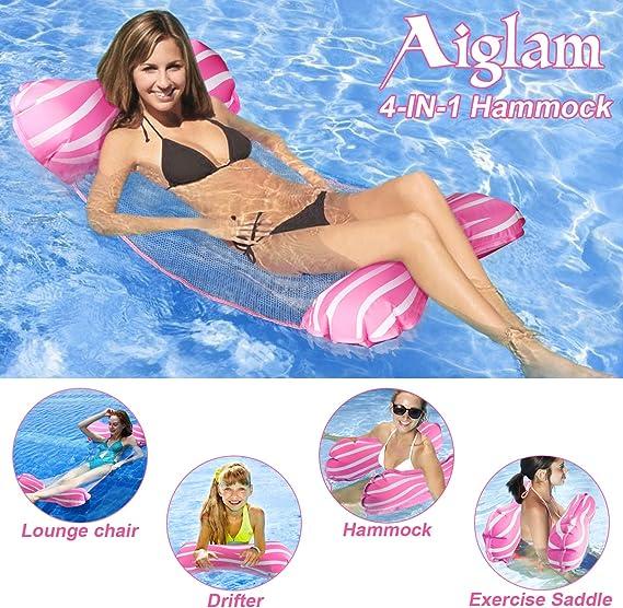 Aiglam Hamaca Flotante para Piscina Tumbona de Piscina Hamaca Flotante Balsas Inflables Sofá de Aire para Piscina Silla Flotante Cama Drifter, Flotador de Playa para Adultos (Rosado): Amazon.es: Deportes y aire libre