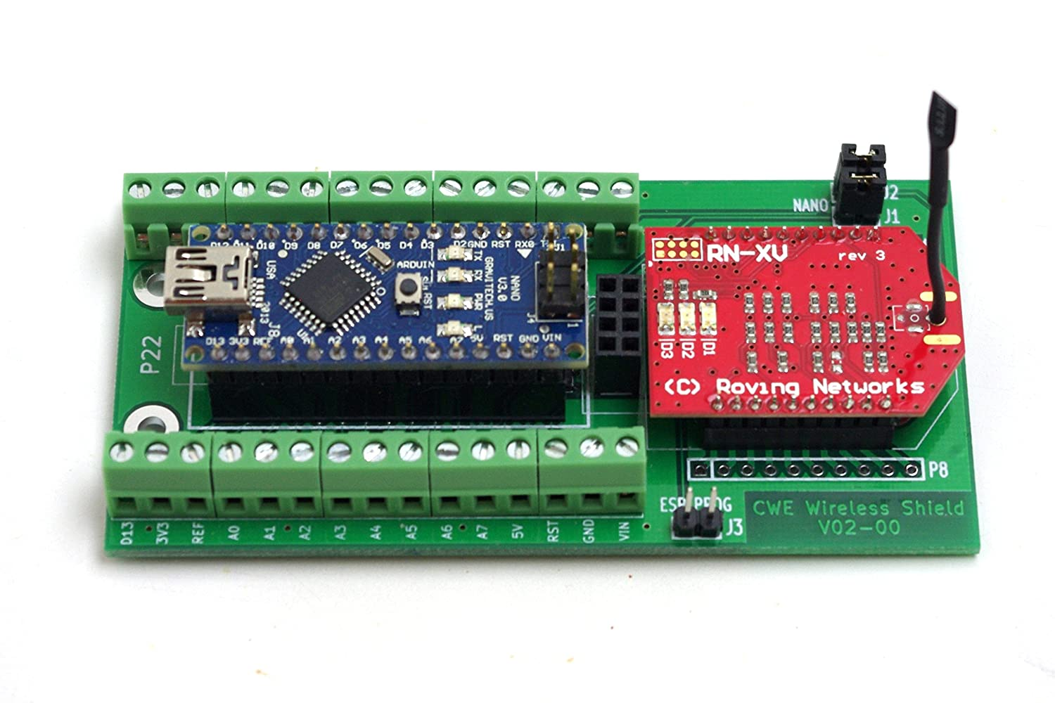 CWE Wireless and WiFi Arduino Nano Breakout Board for ESP8266, RN171, and  Bee