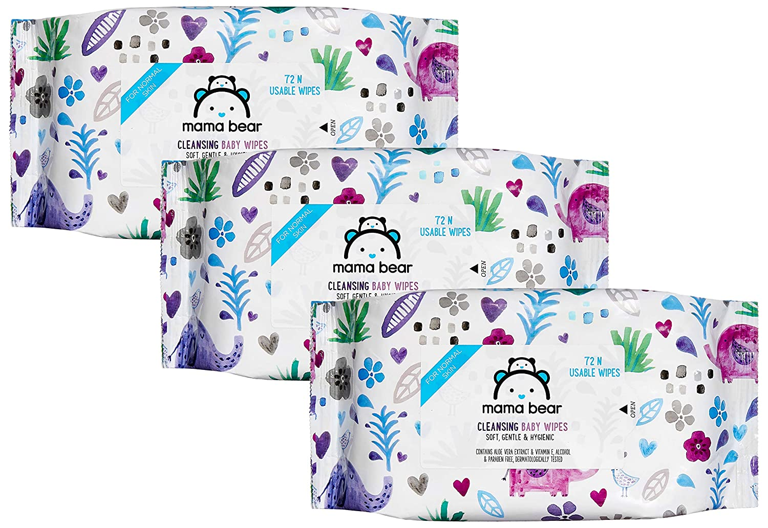 Amazon Brand - Mama Bear Cleansing Baby Wet Wipes - 72 wipes/pack (Pack of 3)