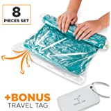 8 Travel Storage Bags for Clothes -  Space Saver | No Vacuum or Pump Needed - Roll-Up Compression Bags for Travel, Home | 4 Large and 4 Medium - Plus Luggage Tags
