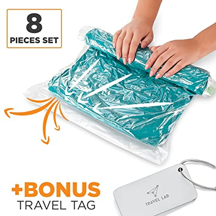 8 Travel Storage Bags for Clothes - Space Saver | No Vacuum or Pump Needed -  sc 1 st  Amazon.com & Amazon.com: 8 Travel Storage Bags for Clothes - Space Saver | No ...