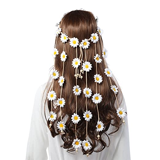 Hippie Hats,  70s Hats Flower Hippie Headband Floral Crown - AWAYTR Behemain Sunflowers Beads Adjust Flower Headdress Hair Accessories (White) $12.99 AT vintagedancer.com