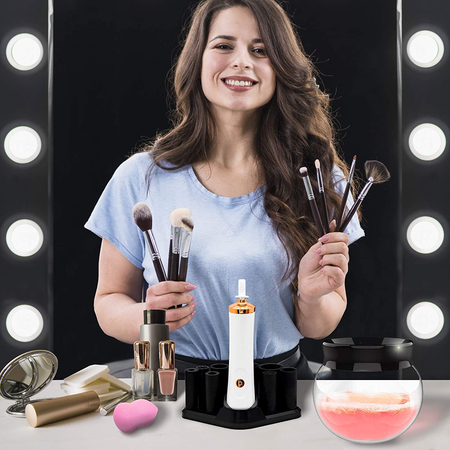 Edook Makeup Brush Cleaner and Dryer - Automatic Deep and Fast Cleaning, Fits Different Brushes, Includes Free Makeup Sponge: Beauty