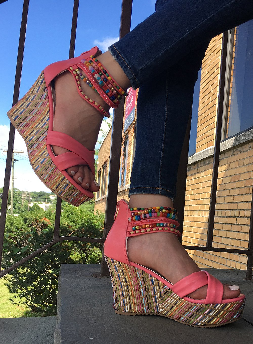 DREAM PAIRS Bling Women's Wedge Sandals Pearls Across The Top Platform High Heels Coral Size 8.5 by DREAM PAIRS (Image #6)