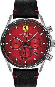 Scuderia Ferrari Men's Pilota Evo Stainless Steel Quartz Watch with Leather Calfskin Strap, Black, 22 (Model: 0830713)
