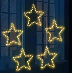 Joiedomi 5Pack Christmas Window Star Lights with Timer Battery Operated 8 Lighting Modes 5 Remote Controls for Xmas Home Party Garden Patio Porch Indoor Outdoor Decor, Warm White