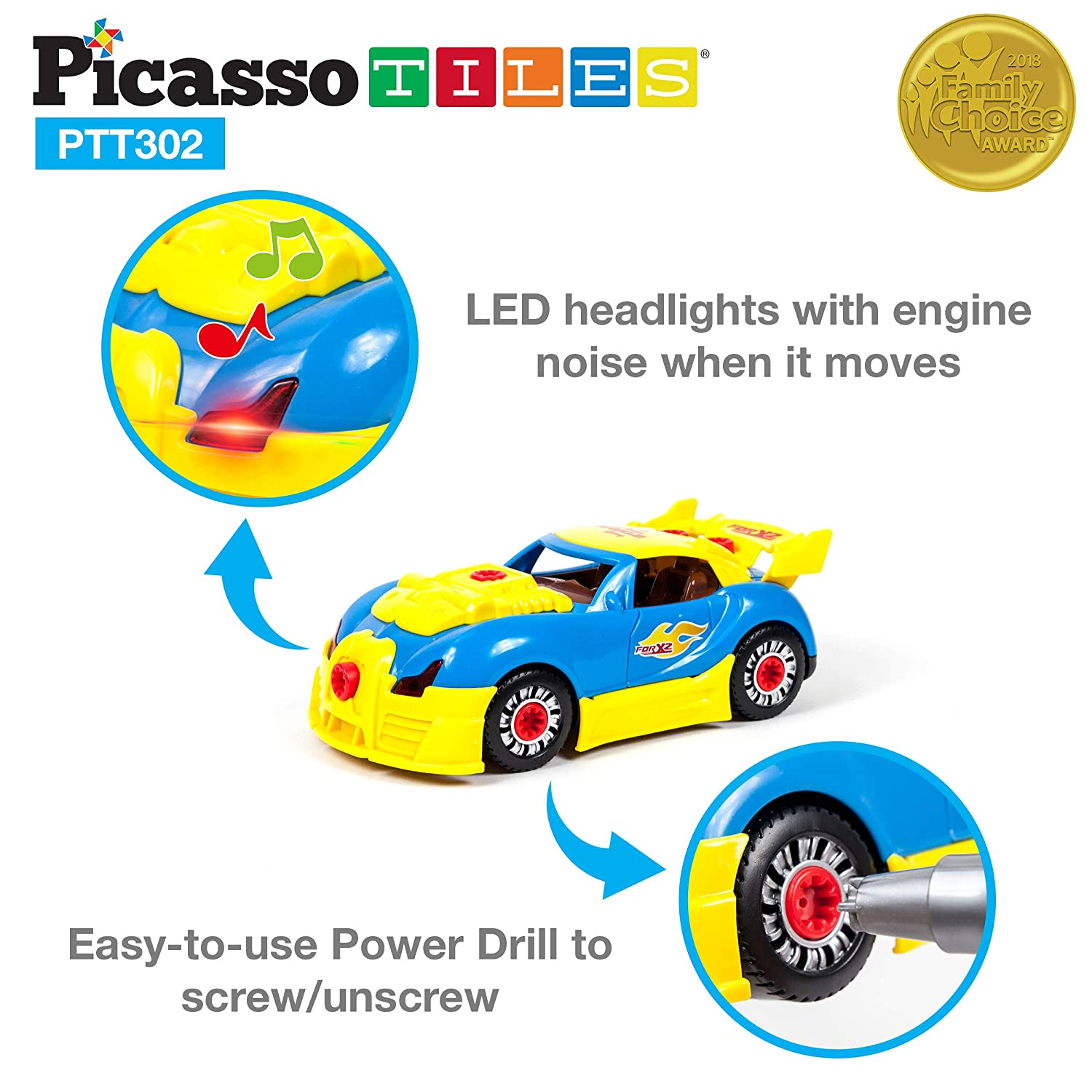 Kit PicassoTiles Take-A-Part Race Car Set with LED Mini Electric Power Tool Reversible Drill Screws Included PTT302 2-in-1 DIY Construction Build Your Own 30pc Racing Car S.T.E.A.M Engine Sound