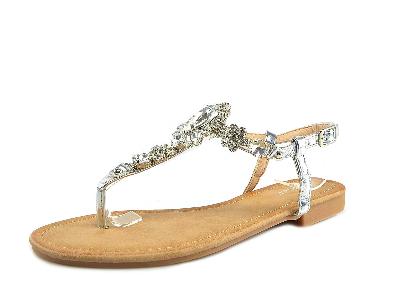 Zehentrenner Sandalen Strass Schuhe Riemchensandalen Sandaletten Strandschuhe Flip-Flop Flach, Damen 0009927  36 EU Silber ( Modell 1 )
