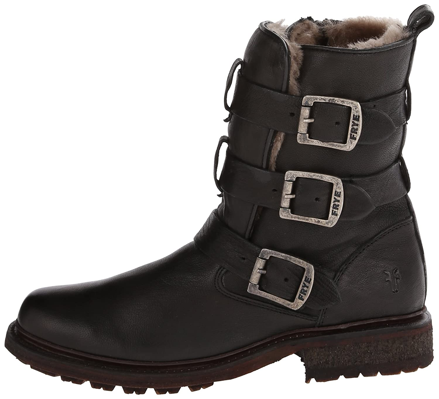 FRYE Women's Valerie Shearling Strappy Ankle Boot B00IMKICXC 5.5 B(M) US|Black-75008