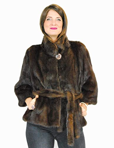 46 Mink fur collar jacket with demi fur belt pelz nerz pelliccia visone норка fourrure vison