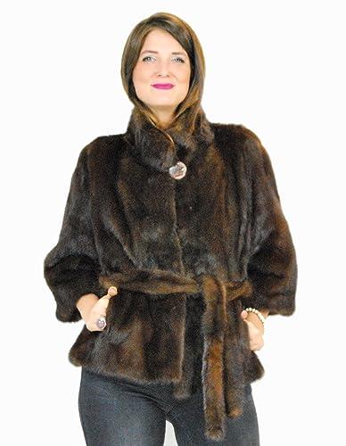 46 Mink fur collar jacket with demi fur belt pelz nerz pelliccia visone норка fourrure vison