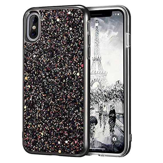 df157726d2 iPhone X Case, iPhone 10 Case, MIRACASE Shockproof Glitter Sparkle Bling  Dual Layer Hard