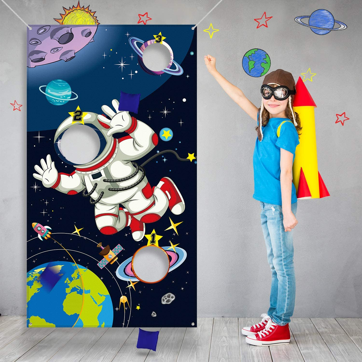 Blulu Space Birthday Party Supplies,Space Game Birthday Party Astronaut Toy Astronaut Toss Games Sets for Kids and Adults in Solar System Party Activities