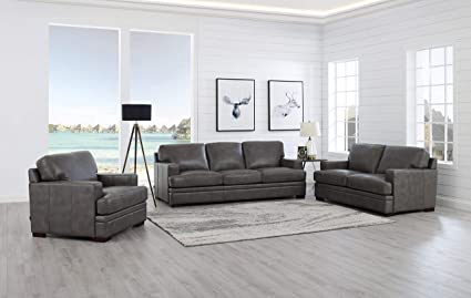 Surprising Amazon Com Hydeline Metro 100 Leather Sofa Loveseat And Machost Co Dining Chair Design Ideas Machostcouk