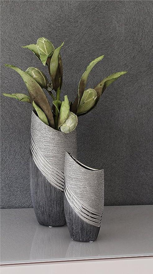 Vase Blumenvase aus Keramik 15cm grau