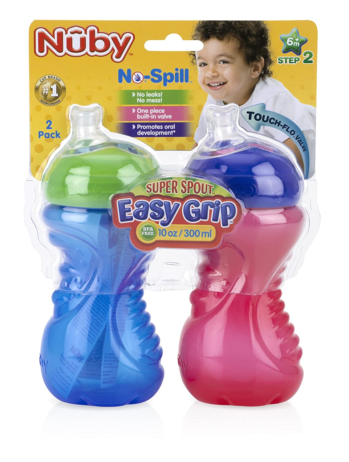6 Plus Months 2 Count Nuby Super Spout Easy Grip Red and Blue