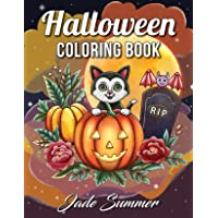 Halloween Coloring Book: An Adult Coloring Book with Beautiful Flowers, Adorable Animals, Spooky Characters, and Relaxing Fall Designs