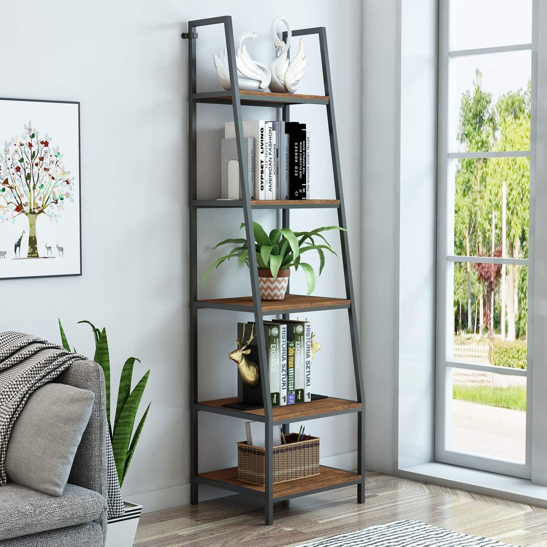 "O&K FURNITURE 5-Tier Ladder Shelf, Ladder Shelves, Rustic Corner Bookshelf, Leaning Bookcases and Book Shelves, Modern Storage Rack and Shelving Unit-72""H x 20""W x 17""D, Barn-Wood Finish,(1-pc)"