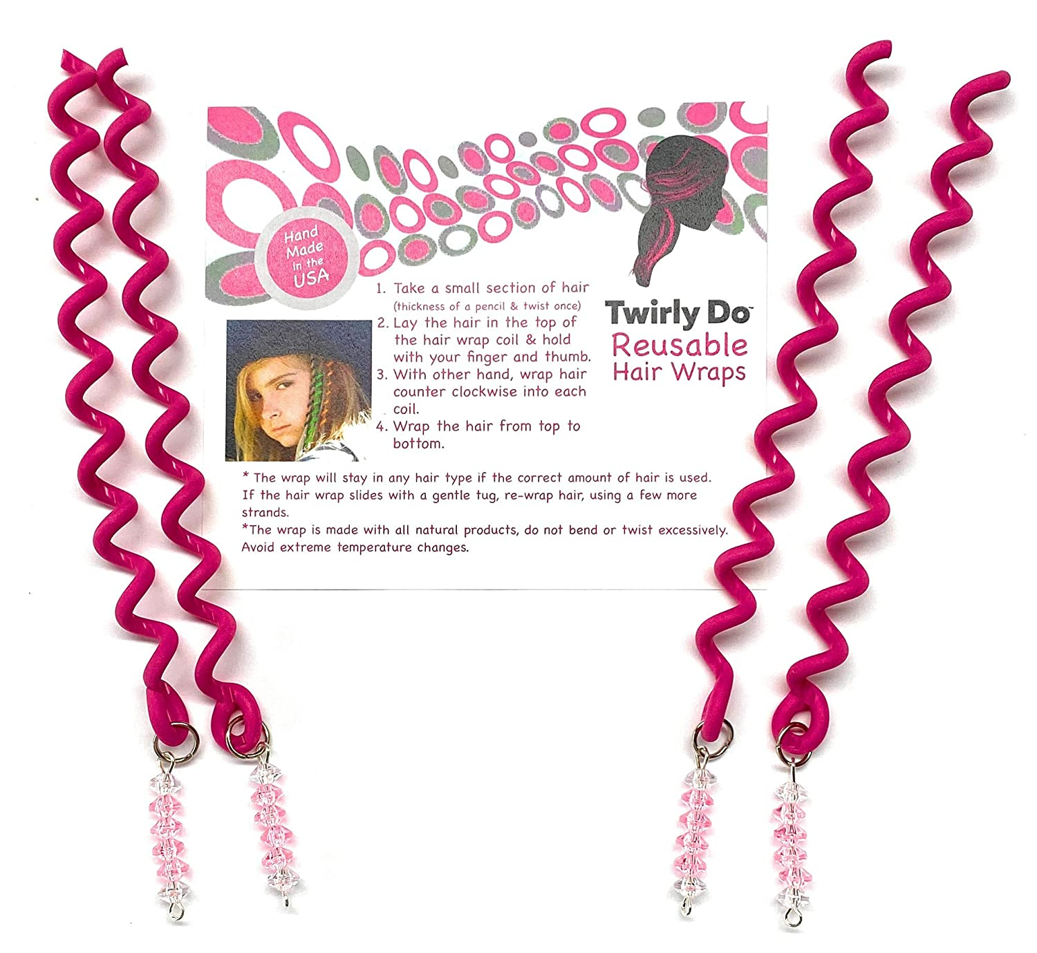 Collect Four 4 Pink Raspberry color 5 Twirly Do Reusable Hair Wrap Twist Braid Barrette
