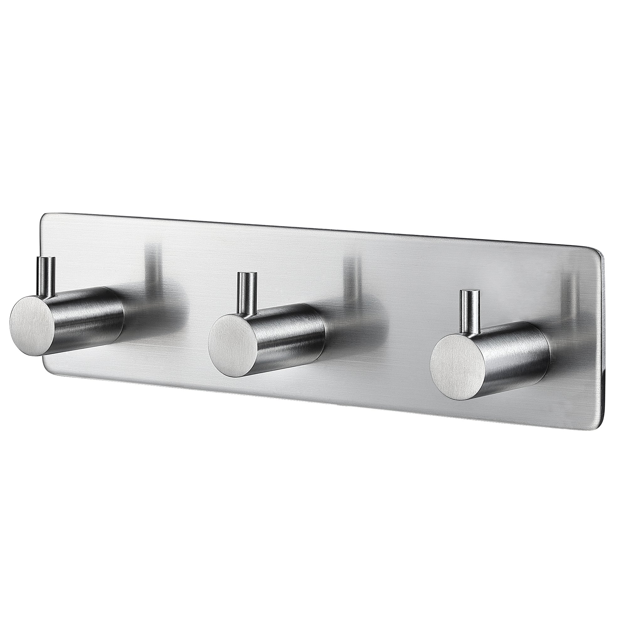 BasicForm Adhesive Hooks Stainless Steel Heavy Duty Ultra Strong Damage Free - 3 hooks in 1