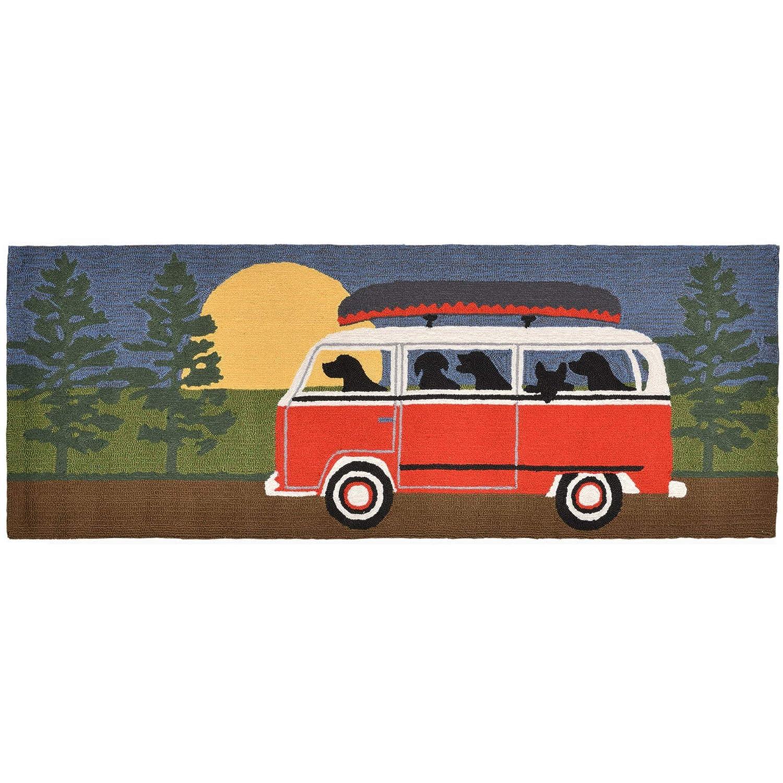 Liora Manne FTPR5147424 1474/24 Front Porch Dog Camping Trip Red Indoor/Outdoor Runner Rug, 2 X 6, Dark Black
