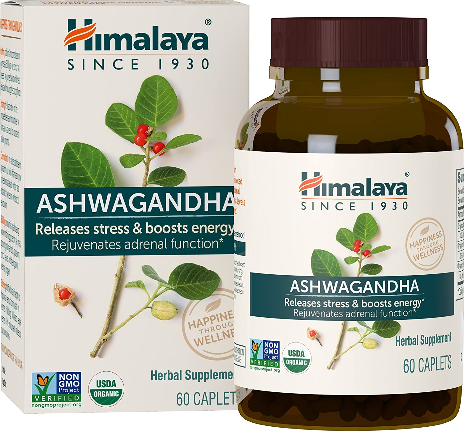 Himalaya Organic Ashwagandha, Adaptogen for Stress-relief, Cortisol level support and Energy Boost, 60 Caplets, 670 mg 2 PACK