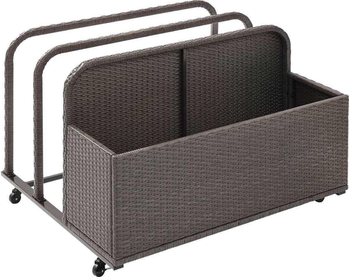 Crosley Furniture CO7303-WG Palm Harbor Outdoor Wicker Rolling Pool Float Caddy, Grey