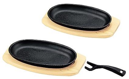 Happy Sales HSSP-CTSP22 Cast Iron Steak Plate Set of 2 6W x  sc 1 st  Amazon.com & Amazon.com: Happy Sales HSSP-CTSP22 Cast Iron Steak Plate Set of 2 ...