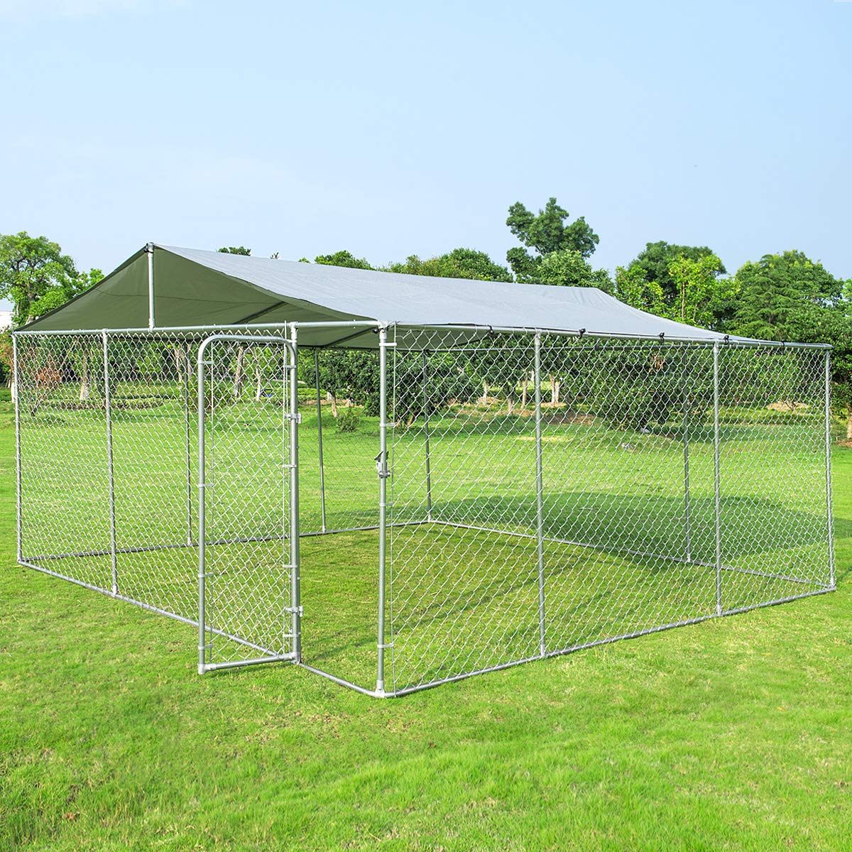 Giantex Large Outdoor Dog Kennel with Shade Roof Cover