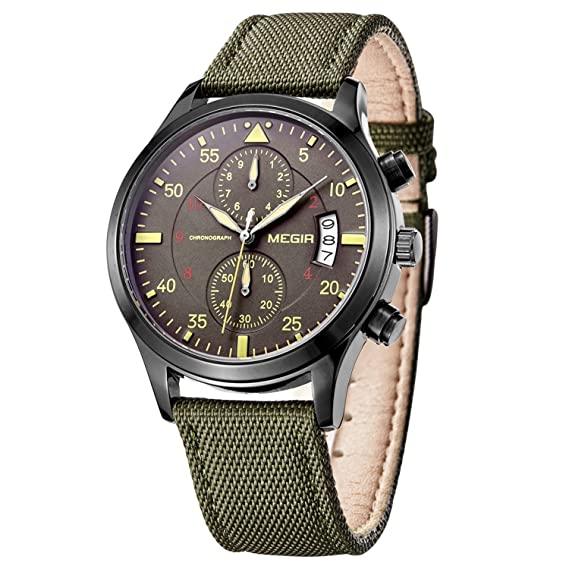 PASOY Menu0027s Military Pilot Style Chronograph Dial Sport Watch Green Nylon  Strap Day Analog Quartz Watches: Amazon.co.uk: Watches