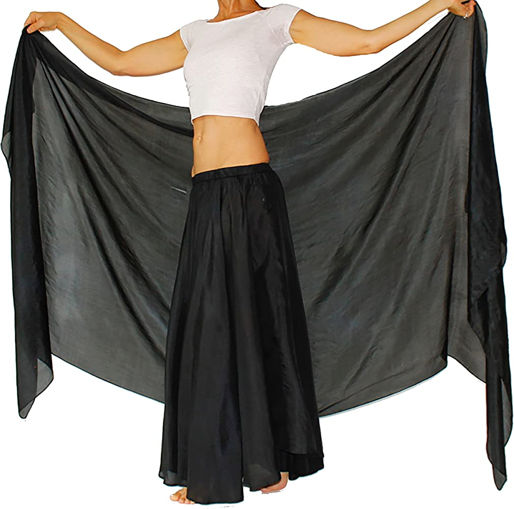 "d2b379eac Nahari Silks Womens 100% Silk Dance Scarves Shawls Wraps Solid Colors Black  82"""