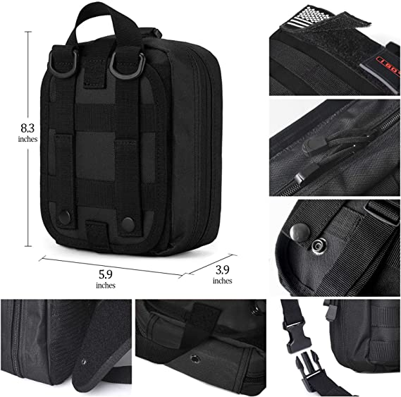 Details about  /100 Pcs Emergency Survival Gear Kit First Aid Trauma Bag Tactical Molle Pouch