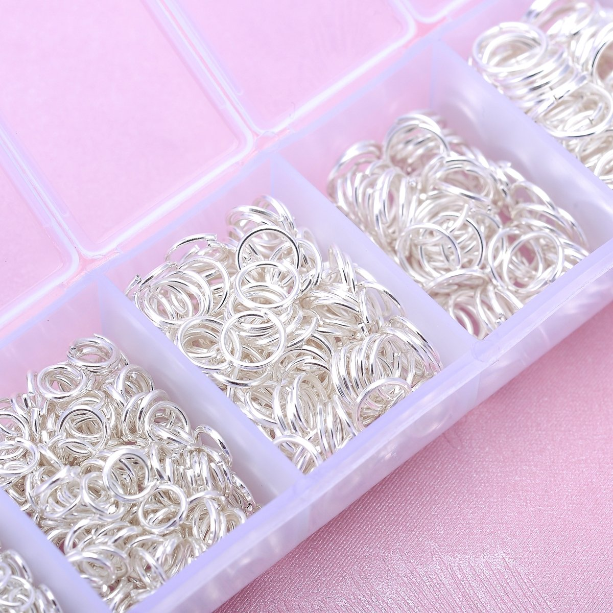 HooAMI 1450pcs Gold Plated Open Jump Rings 3mm 4mm 5mm 6mm 7mm 8mm 10mm Box Set for DIY Jewelry Making Findings