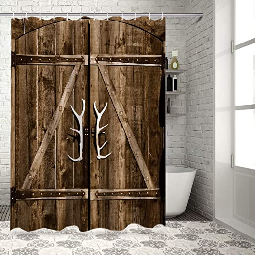 Amazon Com Z L Home Country Rustic Wooden Gate With Antler Handles Shower Curtain Vintage Wood Garage Barn Door Decor Fabric Bathroom Set With Hooks Home Kitchen