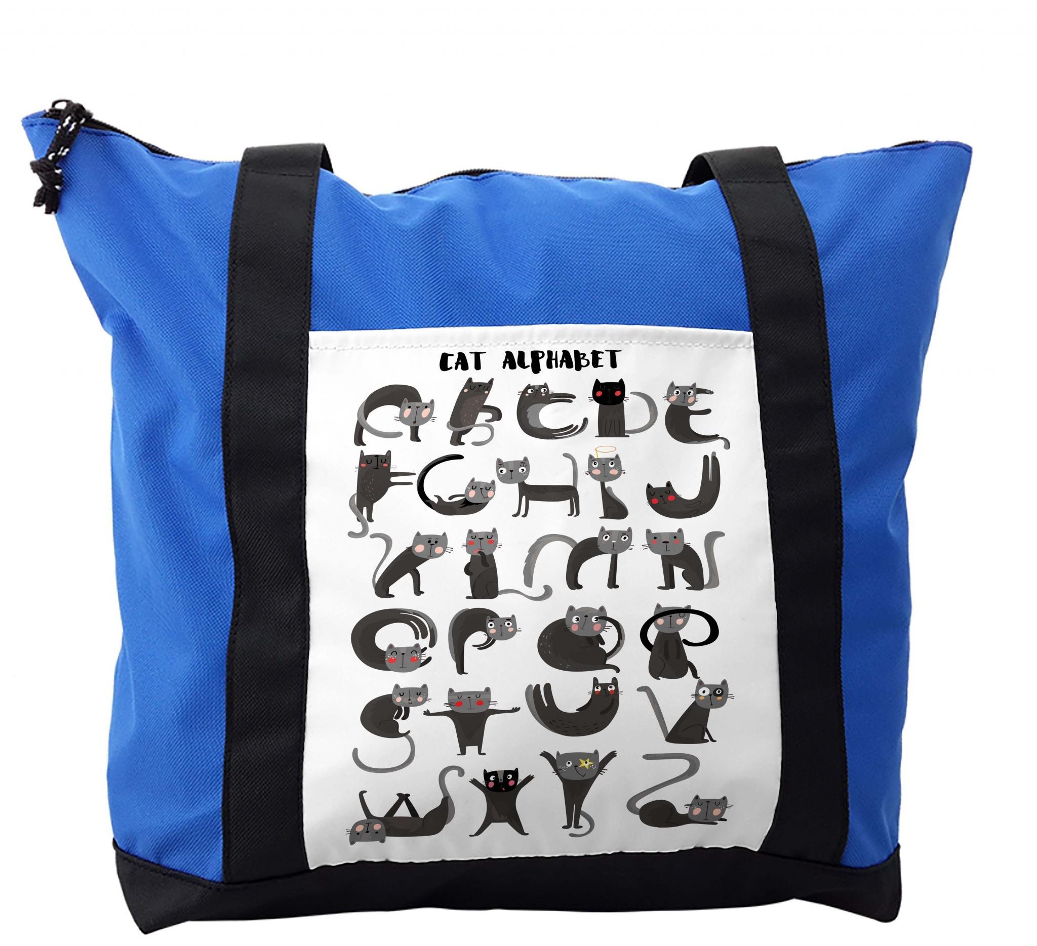 Lunarable ABC Kids Shoulder Bag, Monochrome Silly Cat Pet, Durable with Zipper