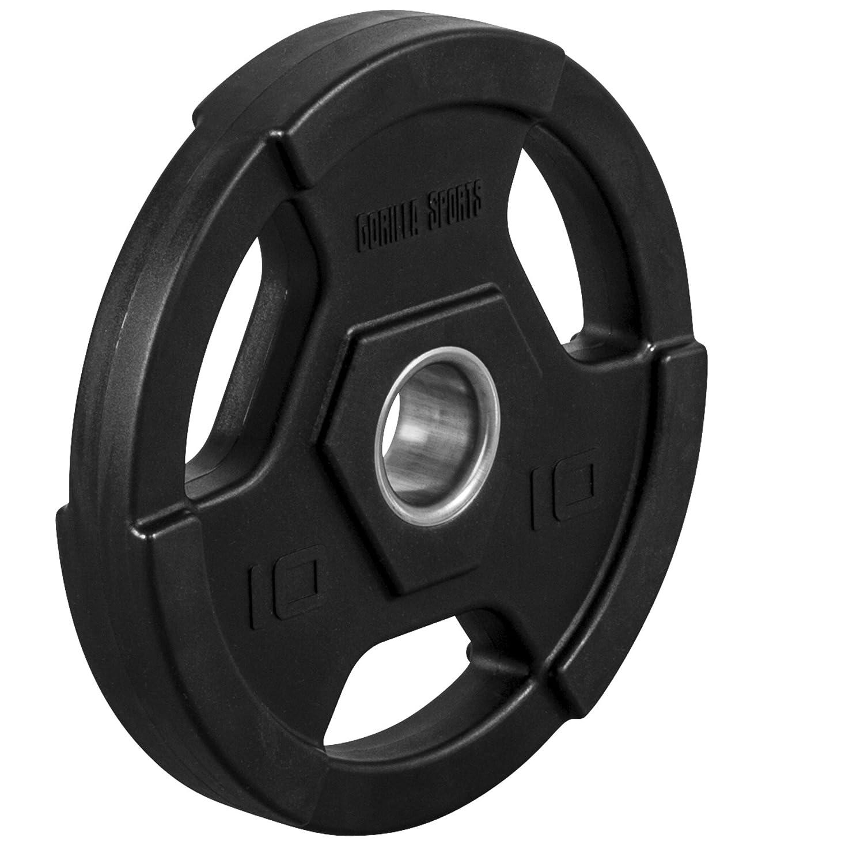 GORILLA SPORTS® Hantelscheiben Gewichte Profi Kunststoff Gripper - 1,25-25 kg Gewichte Hantelscheiben mit 50 51 mm Bohrung Olympia 1b6c61