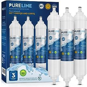 Pureline GXRTQR Inline Water Filter Replacement. Compatible with GE GXRTQR and GXRTQ. (3 Pack)