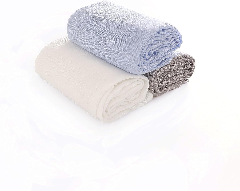Fille Lot de 3 b/éb/é carr/és de mousseline pour nouveau-n/é gar/çon et fille 80 x 80 cm eco 70/% bambou 30/% coton bio en mousseline